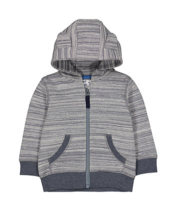 Mothercare Grey Striped Hooded Sweat Top