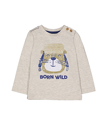 Grey Born Wild Bear T-Shirt