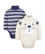 Mothercare Grey Striped Bodysuits - 2 Pack