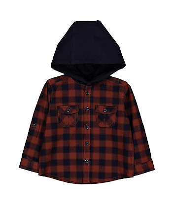 Rust And Navy Check Hooded Shirt