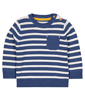Blue Striped Knitted Jumper