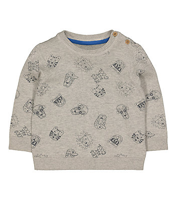 Mothercare Grey Printed Knitted Jumper