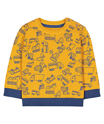 Mothercare Yellow Truck Print Knitted Jumper