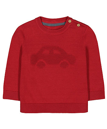 Mothercare Red Car Knitted Jumper