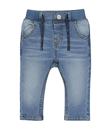 Rib Waist Mid-Wash Denim Jeans