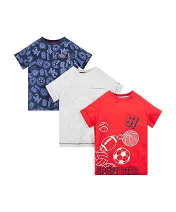 Mothercare Sports Star T-Shirts - 3 Pack