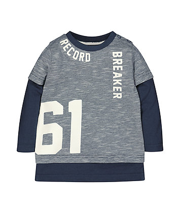 Blue Record Breaker Mock Layer T-Shirt