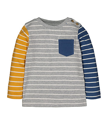 Yellow, Blue And Grey Stripe T-Shirt