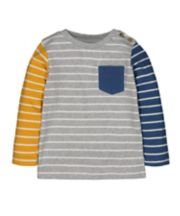 Mothercare Yellow, Blue And Grey Stripe T-Shirt