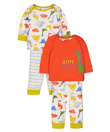 Sleepy Saurus Dinosaur Pyjamas - 2 Pack