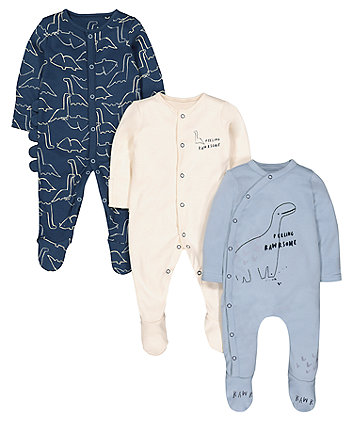 Mothercare Blue Feeling Rawrsome Dinosaur Sleepsuits - 3 Pack