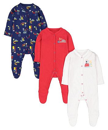 Mothercare Beep Beep Vehicle Sleepsuits - 3 Pack