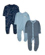 Blue Rawrsome Dinosaur Sleepsuits - 3 Pack
