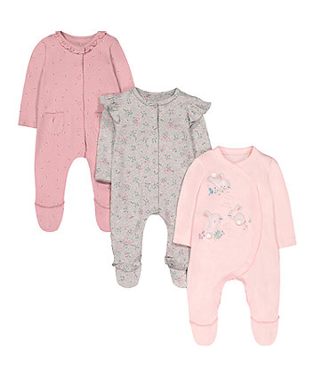 Mothercare Floral Bunny Sleepsuits - 3 Pack