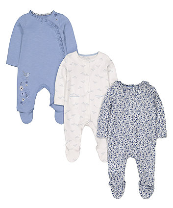 Mothercare Blue Floral Sleepsuits - 3 Pack