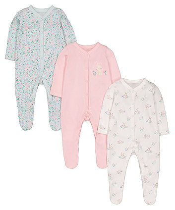 Floral Bunny Sleepsuits - 3 Pack