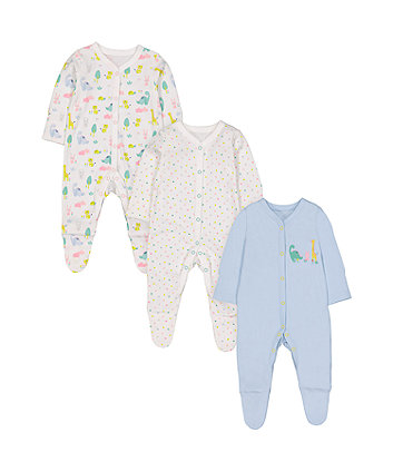 Mothercare Dinosaursaur Friends Sleepsuits - 3 Pack