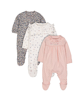 Mothercare Floral Sleepsuits - 3 Pack