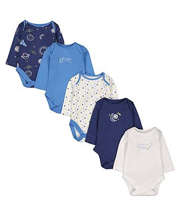 Mothercare Blue Mummy And Daddy Star Bodysuits - 5 Pack