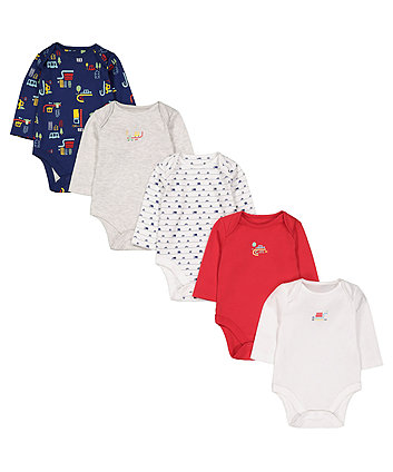 Mothercare Beep Vehicle Bodysuits - 5 Pack