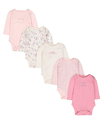 Mummy And Daddy Floral Bodysuits - 5 Pack