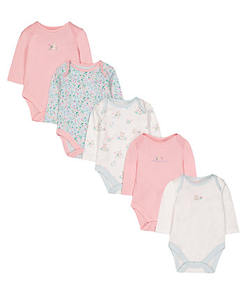 Floral Bunny Bodysuits - 5 Pack