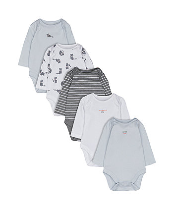 Mothercare Little Raccoon Bodysuits - 5 Pack