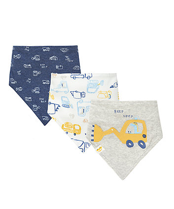 Mothercare Little Truck Bandana Bibs - 3 Pack