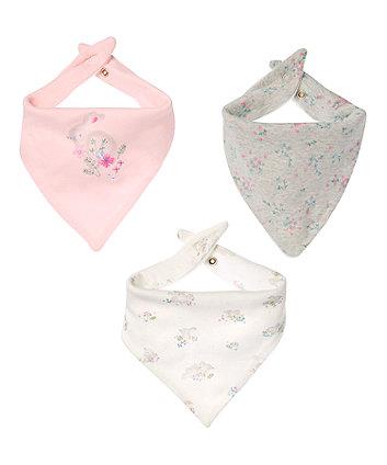 Mothercare Floral Bunny Bandana Bibs - 3 Pack