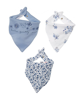 Mothercare Blue Floral Bandana Bibs - 3 Pack