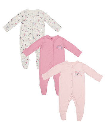 Mummy And Daddy Floral Sleepsuits - 3 Pack