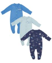 Mummy And Daddy Space Sleepsuits - 3 Pack