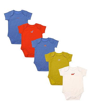Mothercare Bright Dinosaur Bodysuits - 5 Pack