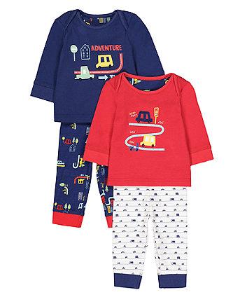 Beep Beep Vehicle Pyjamas - 2 Pack
