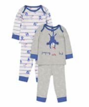 Mothercare Stripe Monkey Pyjamas - 2 Pack