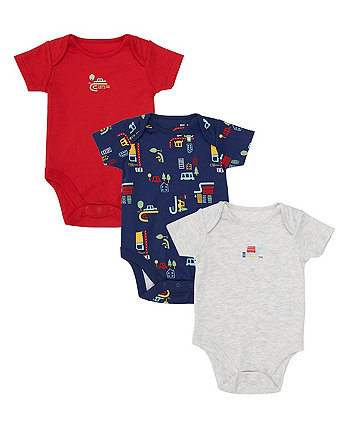 Mothercare Beep Vehicle Bodysuits - 3 Pack