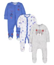Mothercare Hanging Around Monkey Sleepsuits - 3 Pack