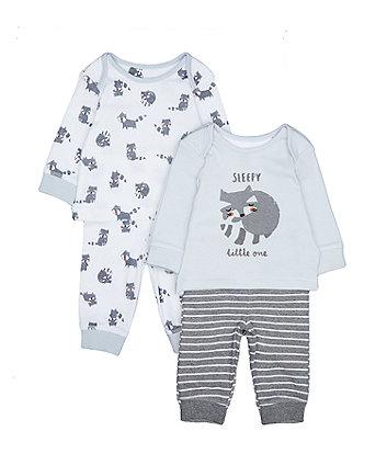 Blue And Grey Raccoon Pyjamas - 2 Pack
