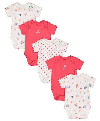 Mothercare Tea Party Bodysuits - 5 Pack