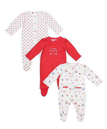 Mothercare Tea Party Sleepsuits - 3 Pack