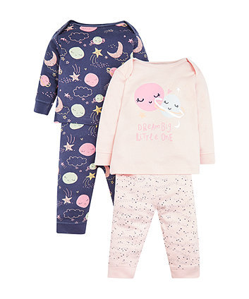Pink And Purple Space Pyjamas - 2 Pack