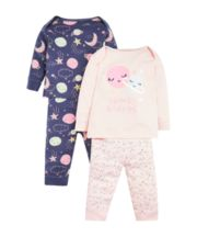 Mothercare Pink And Purple Space Pyjamas - 2 Pack