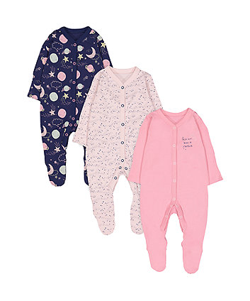 Pink And Purple Space Sleepsuits - 3 Pack
