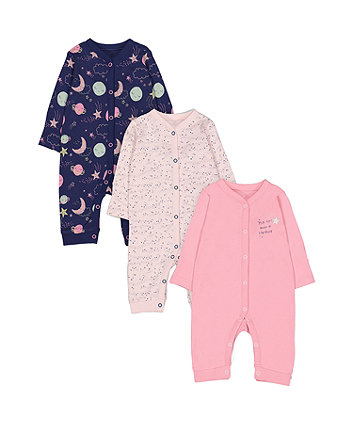 Mothercare Pink And Purple Space Sleepsuits - 3 Pack
