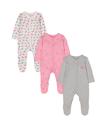 Mothercare Cat Sleepsuits - 3 Pack