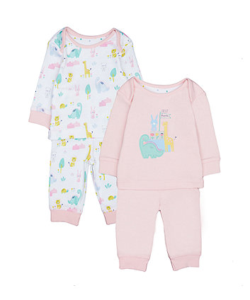 Mothercare Pink Dinosaursaur Friends Pyjamas - 2 Pack