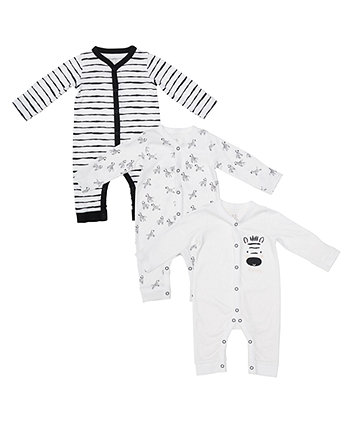 Mothercare Zebra Sleepsuits - 3 Pack