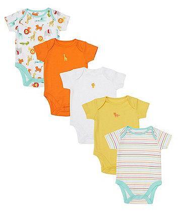 Mothercare Safari Bodysuits - 5 Pack