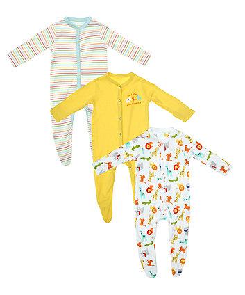 Safari Stripe Sleepsuits - 3 Pack