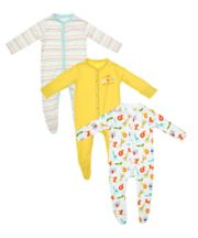 Safari Stripe Sleepsuits - 3 Pack